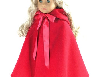 Handmade 18 inch Doll Clothes For American Girl - Red Wool Cloak, Cape