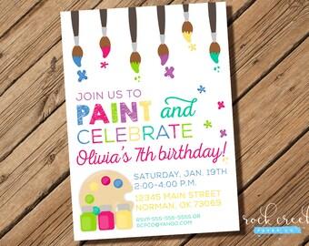 Art Party Invitation, Painting Party Invitation, Canvas Painting Party, Pottery Painting Party, Printable Birthday Party Invitation