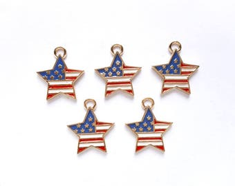 5 American Flag Star Charms - 21-45-11