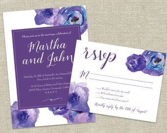 "Watercolor Flowers Printable Wedding Invitation and RSVP Card – ""Martha"""
