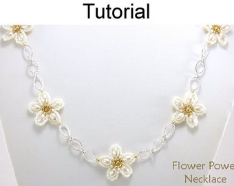 Beading Tutorial Pattern - Flower Chain Necklace - Beaded Flowers - Simple Bead Patterns - Flower Power Necklace #24686