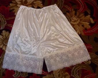Vintage shiny white polyester nylon tap panties pettipants sissy fetish
