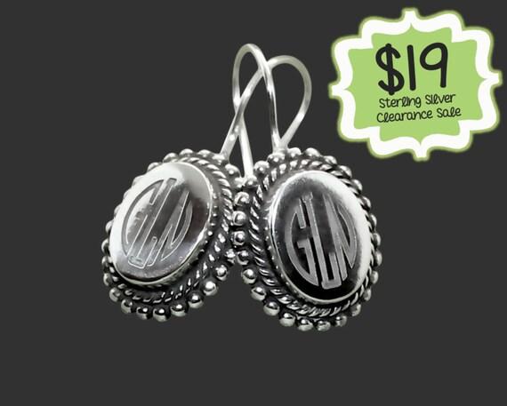 CLEARANCE SALE | Personalized 925 Sterling Silver Oval Framed Earrings | Monogram Earrings | Gifts for Friends | Korena Loves