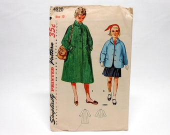 Simplicity Sewing Pattern 4820 Girl's Coat in Two Lengths Size 10 1950's
