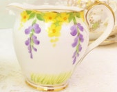 Reserved for Lana 1930s Hand Painted Trailing Wisteria Creamer, Roslyn China& 1 trio
