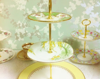 Yellow / Green 3 Tier Cake Stand