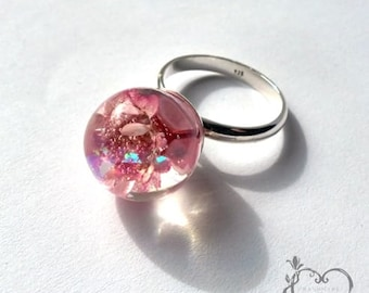 Elegant, adjustable, orb pink flower resin ring with 925 silver by Holly Alp