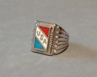 Huge Vintage Mens USA Ring Turquoise Coral Sterling Silver Plated Size 9.5 Big Large Heavy Mens Mans Patriotic Jewelry Makers Marks
