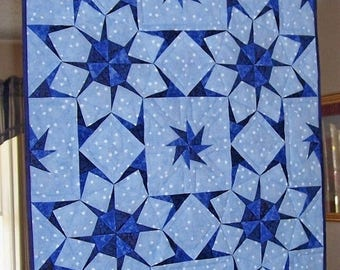 ON SALE Paper Pieced Blue and Navy Stars on a Field of Blue and White Stars