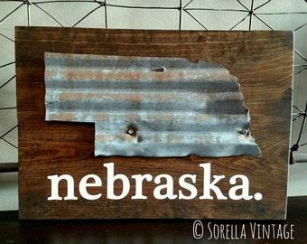 Reclaimed barn tin state of Nebraska on wood | painted Nebraska