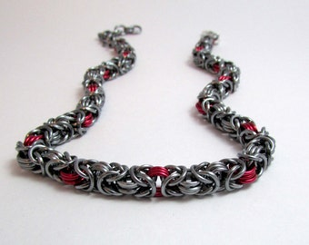 Gunmetal Dark Silver and Red Necklace – Byzantine Chainmaille - Nickel Free Chain Necklace - Handmade Chainmail