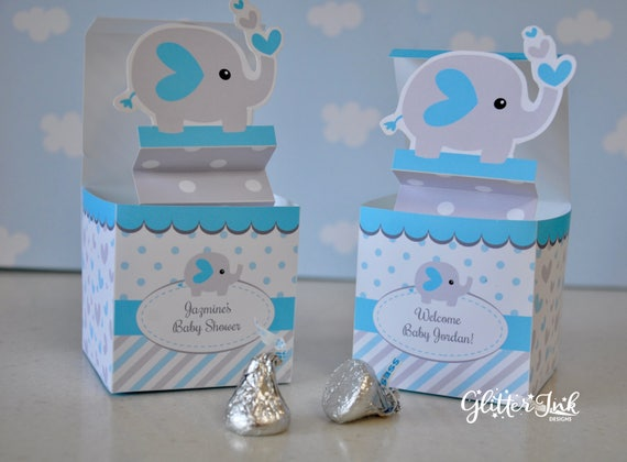 Exceptional Blue And Grey Elephant Baby Shower Pop Up Favor Box Jack In The Box Animal  Zoo Pdf Printable Toy   Blue Baby Boy TEXT EDITABLE Box Template