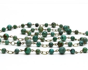 African Turquoise and Jade Natural Stone Long Necklace - Antique Brass Chain - Long Jade Green and Blue Green Necklace