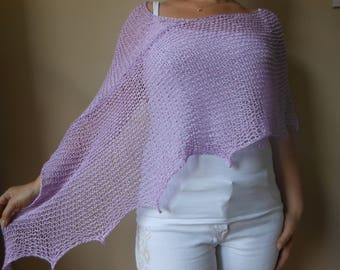 Poncho Hand Knitted Shawl Capelet Shrug Lila lavender Cotton Loose Knit Summer Poncho