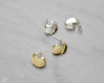 Gold Statement Studs Organic Earrings Gold Statement Earrings