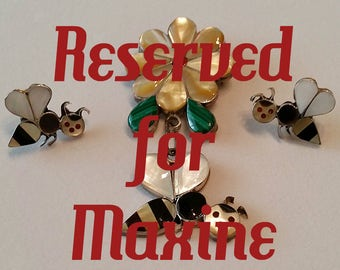 RESERVED - Vintage Zuni Sterling Silver Bumble Bee Flower Pendant Pin Earrings Stone Inlay Native American Indian Signed A. Ahiyite Jewelry