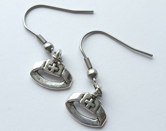Silver Nurse Earrings with Stainless Steel Earwires - Tibetan Silver - nurse hat - occupation - caregiver