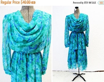 CLEARANCE - FINAL SALE - Plus Size - Vintage Turquoise Floral Chiffon Drape Front Dress (Size 12)