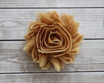mustard shabby chic rosette hair clip golden yellow frayed chiffon flower clip