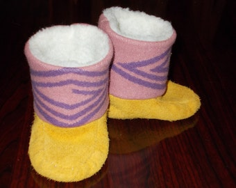Sz 4 New Handmade Baby Infant Wool Elk Leather Tall Moccasins Mukluks Booties