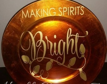 SALE SAVE 50% Making Spirits Bright Holiday Christmas Charger Decoration Orange Gold