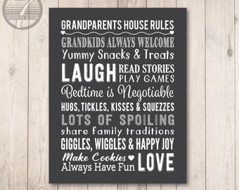GRANDPARENTS Rules Art Print, Grandparent Rules Subway Art, Grandparents Gift, Grandma and Grandpa Art 8x10 or 11x14 Gift Grandkids UNFRAMED