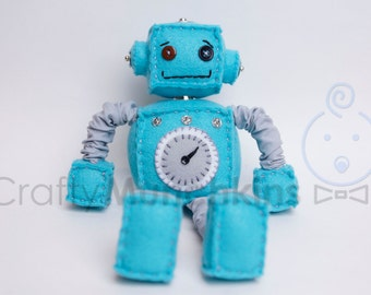Blue Plush Felt Robot