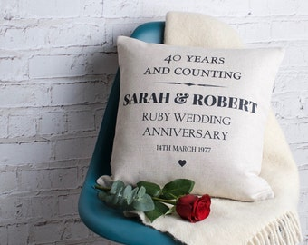 Personalised  Ruby Wedding Anniversary Gift for Couples / Handmade Pillow Cushion Custom Made Cover / Present with Names and Date