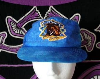 Vintage Camel Cigarettes Bright Bluw Swirl Baseball Cap. Joe Camel Pro Retro Hat. Retro 90s Blue Snapback RJ Reynolds Tobacco Baseball Cap.