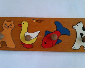 """Vintage Puzzle Wooden Animals Educational First Puzzle Toy Made  in Israel 1990's  20 1/2""""  x   6"""""""