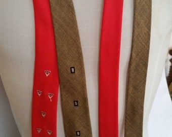 Vintage Necktie 100% Irish Linen Summer Skinny Tie Collection of 2 Ties 1950's Red and Light Brown Skinny Ties Silk Embroidered Design