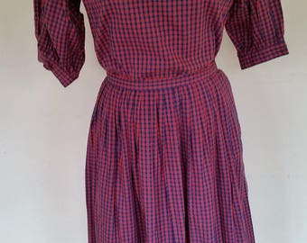 Vintage 2 Pc Skirt Outfit 1970's Gingham MOD Peasant Outfit Made for SAKS Fifth Avenue In Hong Kong Full Skirt/Blouse Size M