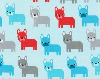 Aqua Dogs - Robert Kaufman - Urban Zoologie - All Over Doggies - Dog Lovers Fabric - Ann Kelle Designs - Printed Kona Cotton - Puppy Fabric