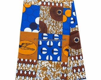 Best Faux Patchwork Ankara fabric, 6 yards/ brown/royal blue/ African fabric/ Ankara fabric/ Hollandais/ Wax Print/ Cotton Print/ WP1012