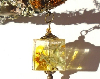 Real Lichen Resin Bronze Cube Botanical Nature Woodland Pendant Necklace