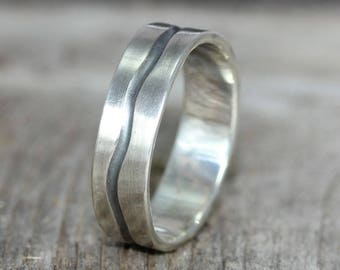 A   Silver Wedding Band  Organic Mans Wedding Band  Mens Wedding Ring  Rustic Silver Wedding Ring  Unique Mans Wedding Band
