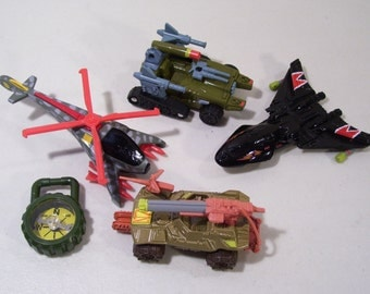 New Lot of 4 Vintage GI Joe Die cast High Tech Battle Vehicles Bone Splitter, Tiger Hawk, Sand Striker, Sky Stalker 1996 Kenner, Compass