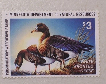 1985 State of Minnesota Duck Hunting Stamp, MNH, Scott #9, White Fronted Geese