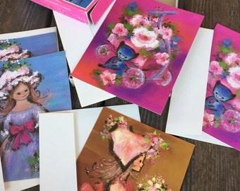 5 Vintage Unused Greeting Cards - 4 Birthday & 1 Get Well - With Original Box!