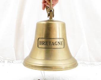 "Large Vintage French Reproduction Bronze Bell Engraved  "" Bretagne ""="" Brittany "", Sailing Boat Bell, Wall Hanging Front Door Bell, France,"