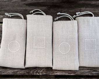 Bread bags set - linen storage bags - dried fruit keepers. Natural linen handmade bags