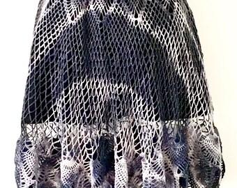 Gypsy BoHo Crochet Purple & Black Tie Dye Handmade Lined Skirt ~ Medium  AU 10 - 12 US 8 - 10 ~ Vintage Festival Grunge Gothic
