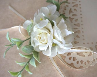 "DARKWHISPER Vintage Handmade ""Happy Wedding Day"" Spring Simple White Roses & Ribbon Bracelet"