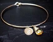 Genuine Citrine Bracelet / Personalized Citrine Charm Bangle / November Birthstone Bracelet / Mothers Jewelry / New Mom Jewelry Gift