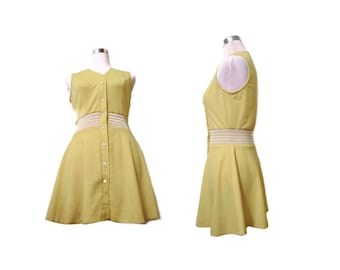 Vintage 1970s Tennis Dress LoomTogs XS Yellow White Snap Buttons Retro Mini Dress 70s Polyester