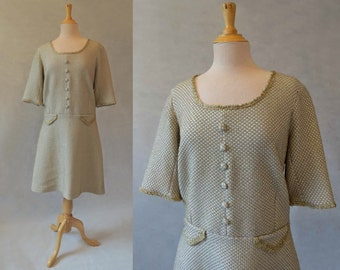 Beige and Gold Glitter Dress - 1960s