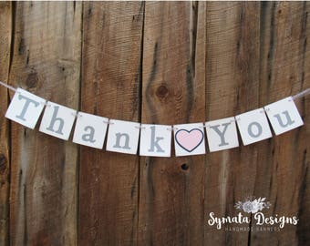 Thank you heart banner - Thank you banner - photo prop - wedding decoration- Light pink heart- lower case letters - romantic - IATY129