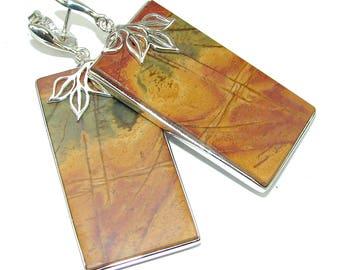 Red Creek Jasper Sterling Silver Earrings - weight 22.50g - dim L -2 1 4, W -7 8, T -3 16 inch - code 30-lis-15-38