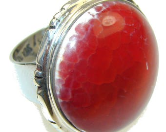 Mexican Fire Agate Sterling Silver Ring - weight 13.70g - Size 8 - dim L -1 1 8, W -1 1 8, T -1 4 inch - code 15-lip-15-46