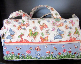 Large Quilted Tote Bag Double Handle Shoulderbag Handbag for Knitting or Sewing Butterflies & Florals For Spring